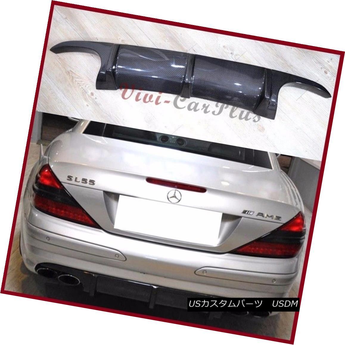 エアロパーツ Fit 03-09 Benz R230 Sporty SL55AMG Use Add-On Rear Bumper Diffuser Carbon Fiber フィット03-09ベンツR230スポーティーSL55AMGアドオンリアバンパーディフューザーカーボンファイバー
