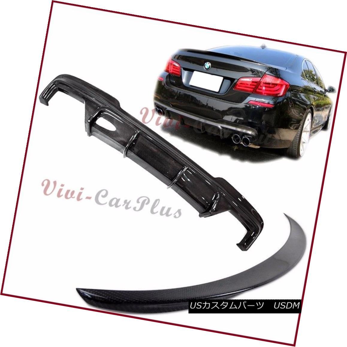 エアロパーツ Combo Carbon Fiber V Type Diffuser & Trunk Spoiler 11-15 BMW F10 M Sporty Bumper コンボカーボンファイバーV型ディフューザー& トランク・スポイラー11-15 BMW F10 Mスポーティー・バンパー