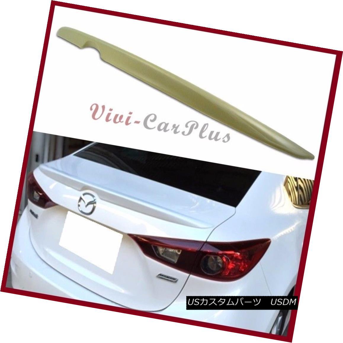 エアロパーツ UNPAINTED 2014-2016 MAZDA 3 3RD Sedan 4DR OE Type Trunk Spoiler Add On Lip Wing UNPAINTED 2014-2016 MAZDA 3 3RDセダン4DR OEタイプトランク・スポイラーAdd On Lip Wing