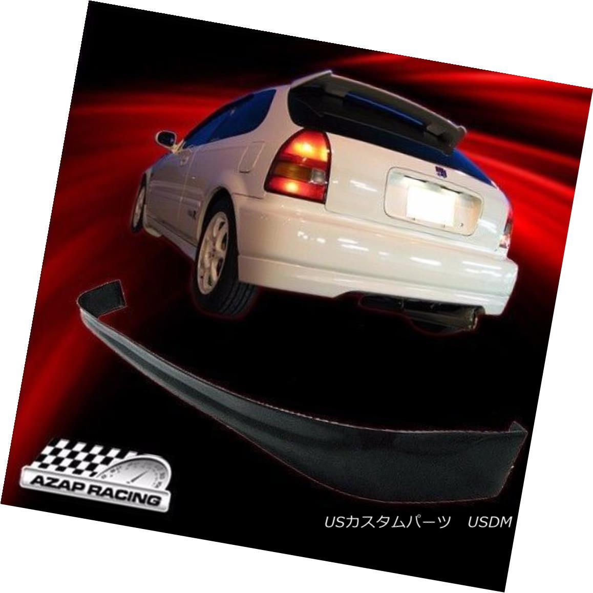 エアロパーツ 96-00 T-R Style Black PU Rear Bumper Lip Spoiler Fits Honda Civic 3Dr Hatchback 96-00 T-RスタイルブラックPUリアバンパーリップスポイラーはホンダシビック3Drハッチバックにフィット