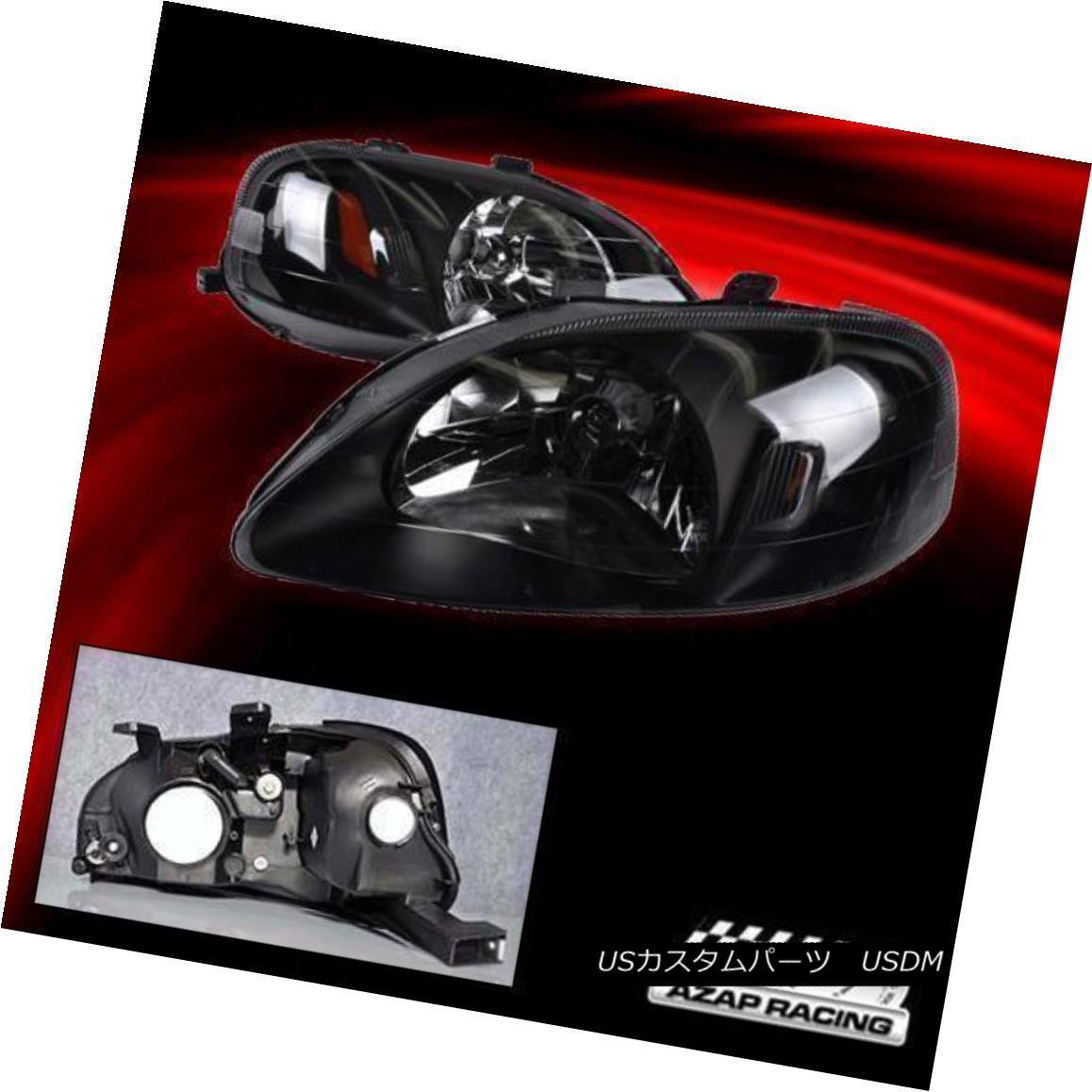 エアロパーツ 99-00 Black Housing Headlights Lamps W/Amber Corner Reflector Fits Honda Civic 99-00 Black HousingヘッドライトランプHonda Civicに適合するW / Amber Corner Reflector