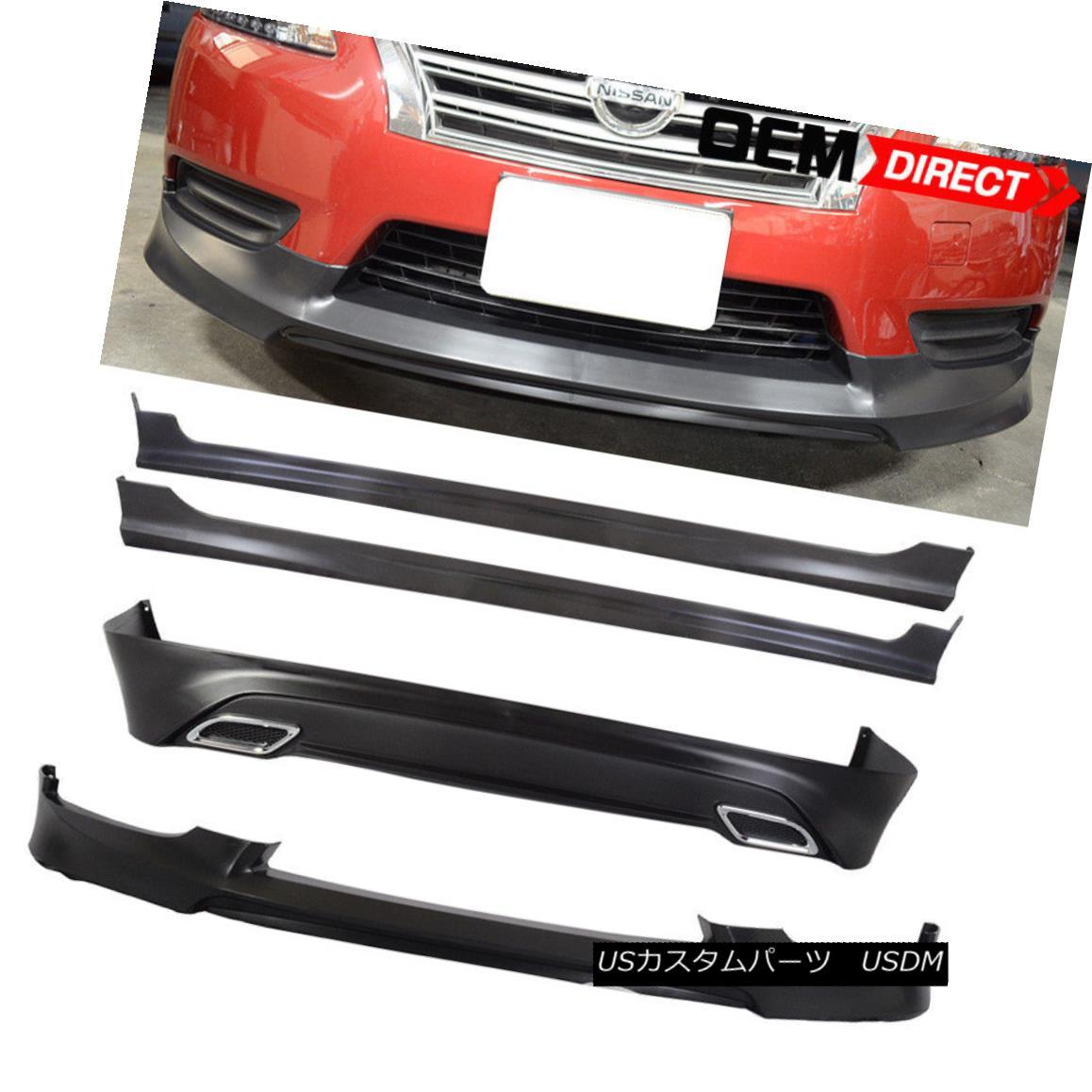 エアロパーツ Fit For 13-17 Nissan Sentra OE Style Front Side Rear Bumper Lip Kit Spoiler 13-17 Nissan Sentra OEスタイルフロントサイドリアバンパーリップキットスポイラー