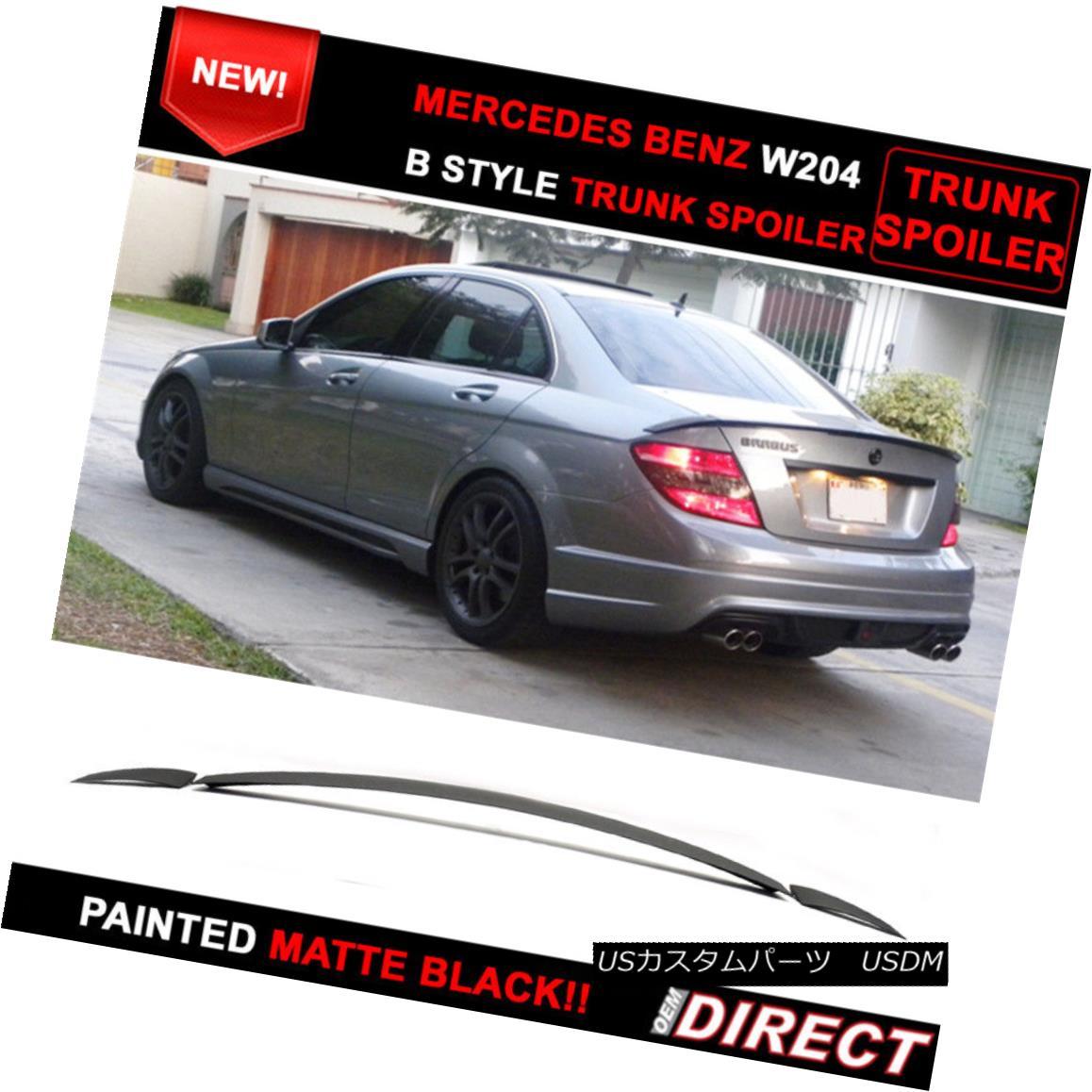 エアロパーツ 07-13 Benz W204 C-Class B Style Painted Matte Black Trunk Spoiler - ABS 07-13ベンツW204 CクラスBスタイル塗装マットブラックトランクスポイラー - ABS