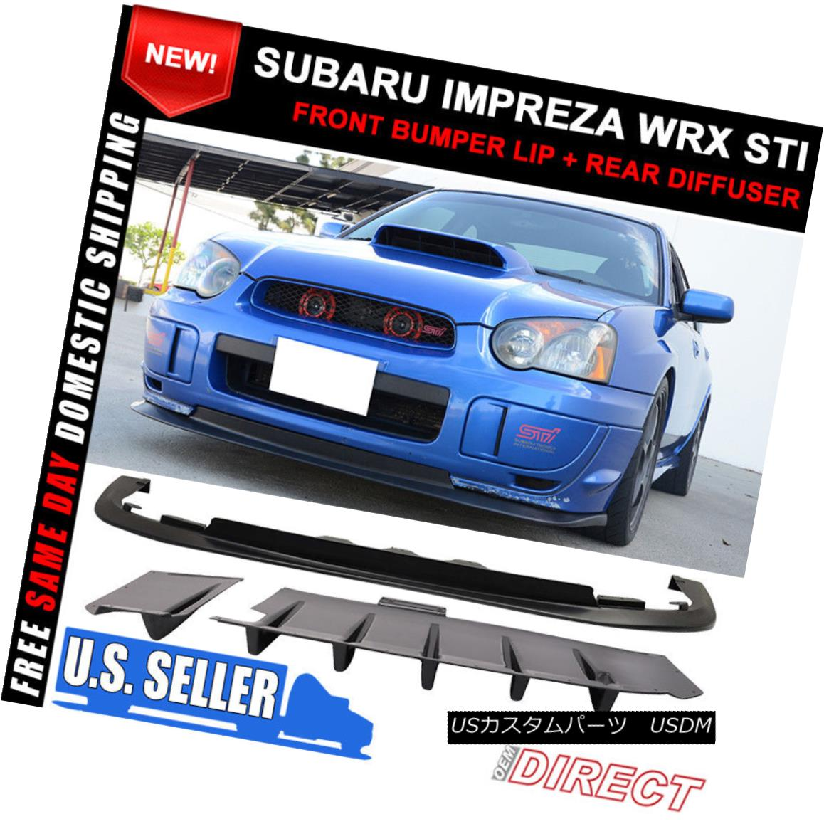 エアロパーツ Fit For 04-05 Subaru Impreza WRX STI Front Bumper Lip PP + Rear Diffuser 2PC ABS フィット04-05スバルインプレッサWRX STIフロントバンパーリップPP +リアディフューザー2PC ABS