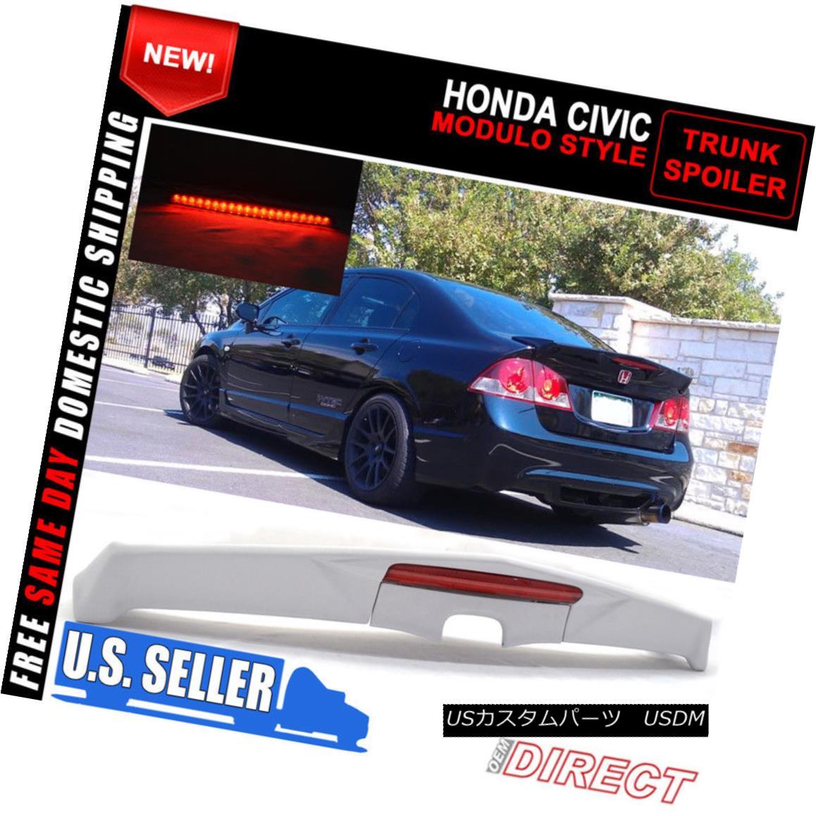 エアロパーツ 06-11 Honda Civic Modulo Trunk Spoiler With Led - FRP 06-11ホンダシビックモジュロトランク・スポイラー(Led - FRP付き)