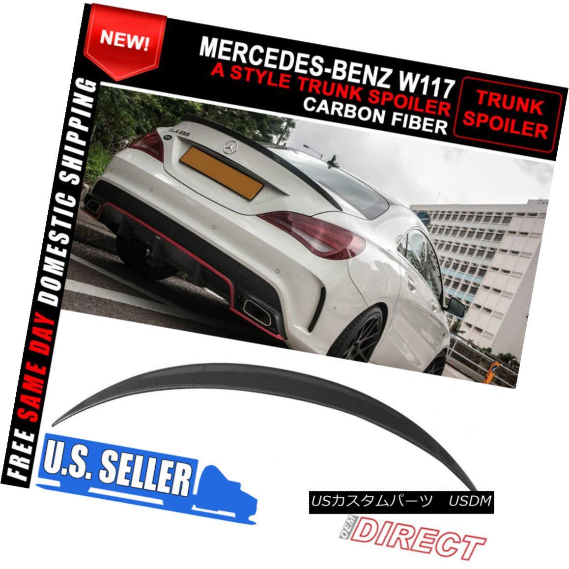 エアロパーツ Fit For 13-18 Benz Cla W117 A Style Carbon Fiber CF Rear Trunk Spoiler Lip Wing フィット13-18ベンツクラW117スタイルの炭素繊維CFリアトランクスポイラーリップウイング