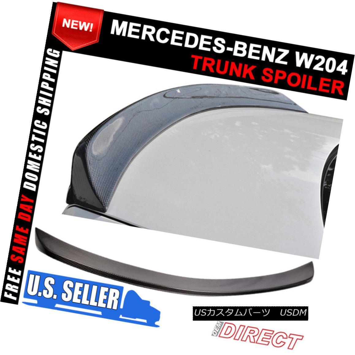 エアロパーツ Fit 08-14 Mercedes Benz C-Class W204 4Dr Sedan Carbon Fiber V Trunk Spoiler Lid 適合08-14メルセデスベンツCクラスW204 4DrセダンカーボンファイバーVトランクスポイラーリッド