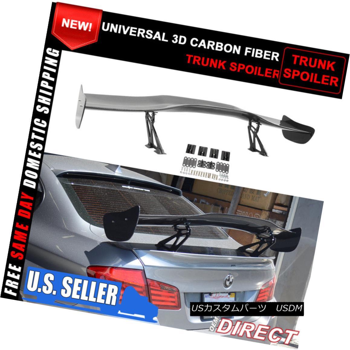 エアロパーツ 57 Inch Universal Fit 3D Carbon Fiber CF Rear GT Trunk Spoiler Wing Racing Deck 57インチユニバーサルフィット3DカーボンファイバーCFリアGTトランクスポイラーウイングレーシングデッキ
