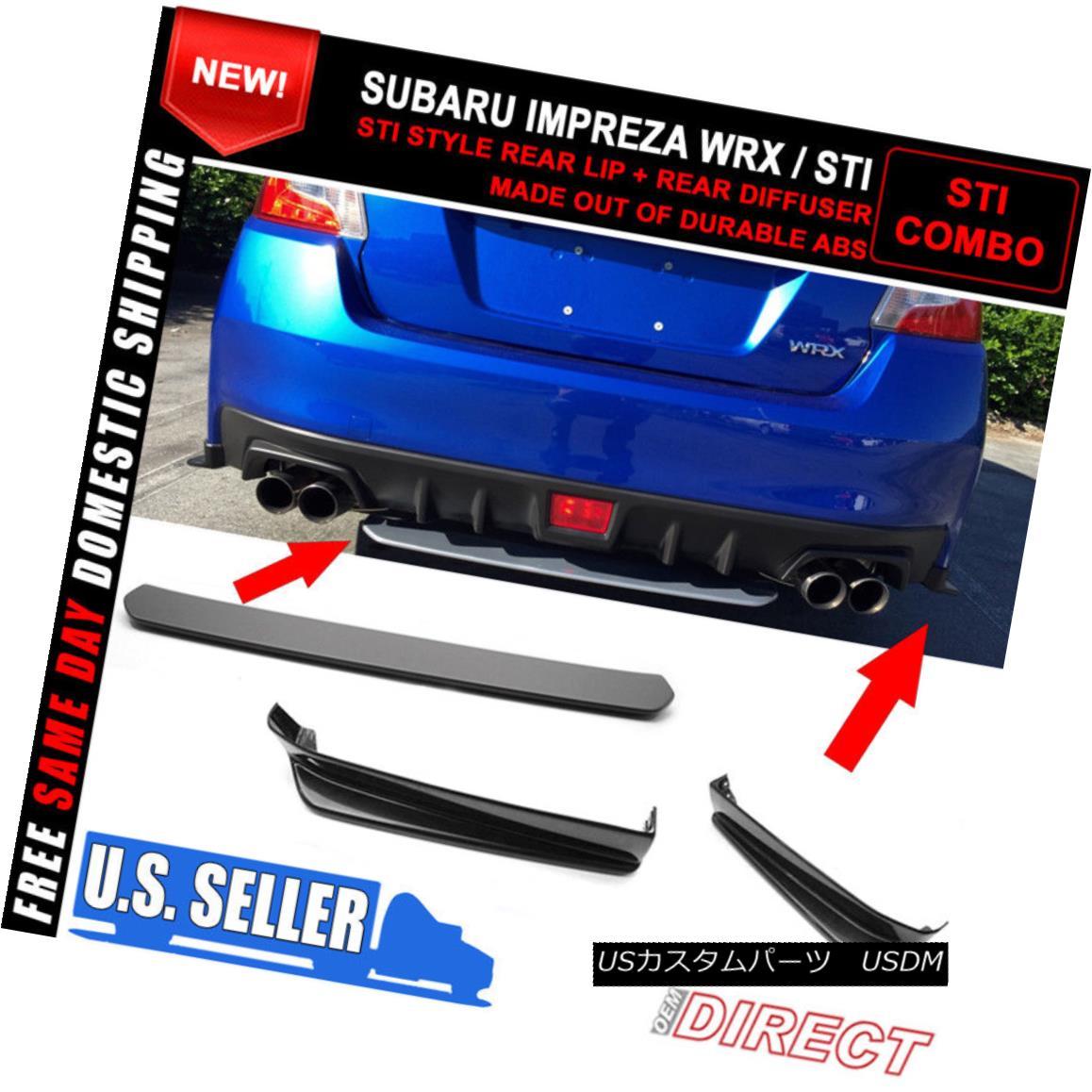 エアロパーツ Fits 15-18 Subaru WRX STI V Limited Rear Lip 2 PC + Rear Diffuser ABS フィット15-18スバルWRX STI Vリミテッドリアーリップ2 PC +リアディフューザーABS