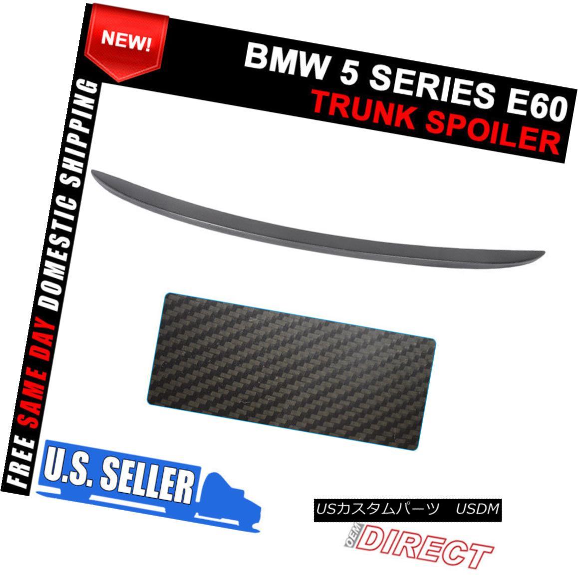 エアロパーツ 04-10 BMW 5 Series E60 4Dr Sedan M5 Tasla Style Trunk Spoiler Lid Matte Carbon 04-10 BMW 5シリーズE60 4DrセダンM5タスラスタイルトランクスポイラーリッドマットカーボン