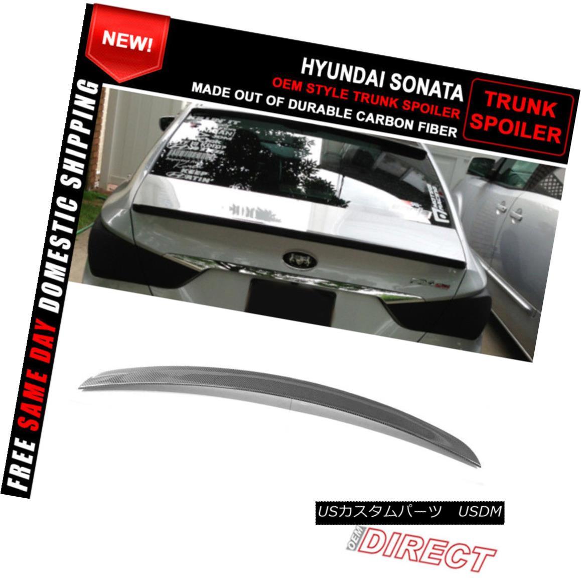 エアロパーツ Fit For 11-14 Hyundai Sonata OE Style Trunk Spoiler Carbon Fiber CF 11-14現代ソナタOEスタイルトランク・スポイラー炭素繊維CFに適合