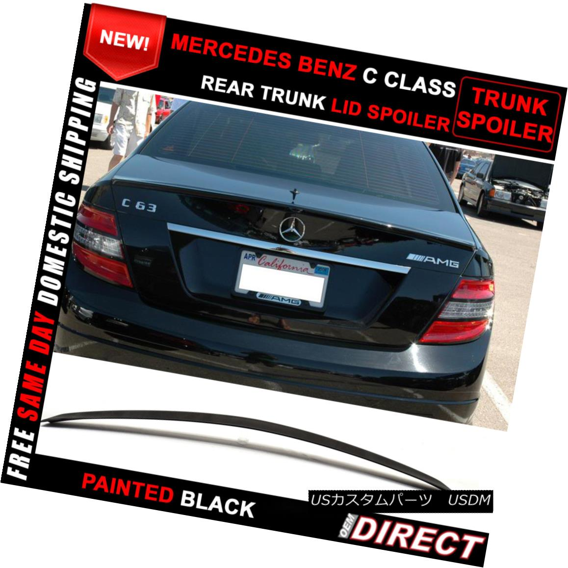08-14 Mercedes-Benz W204 C-Class B Style Trunk Spoiler Wing ABS Unpainted Black