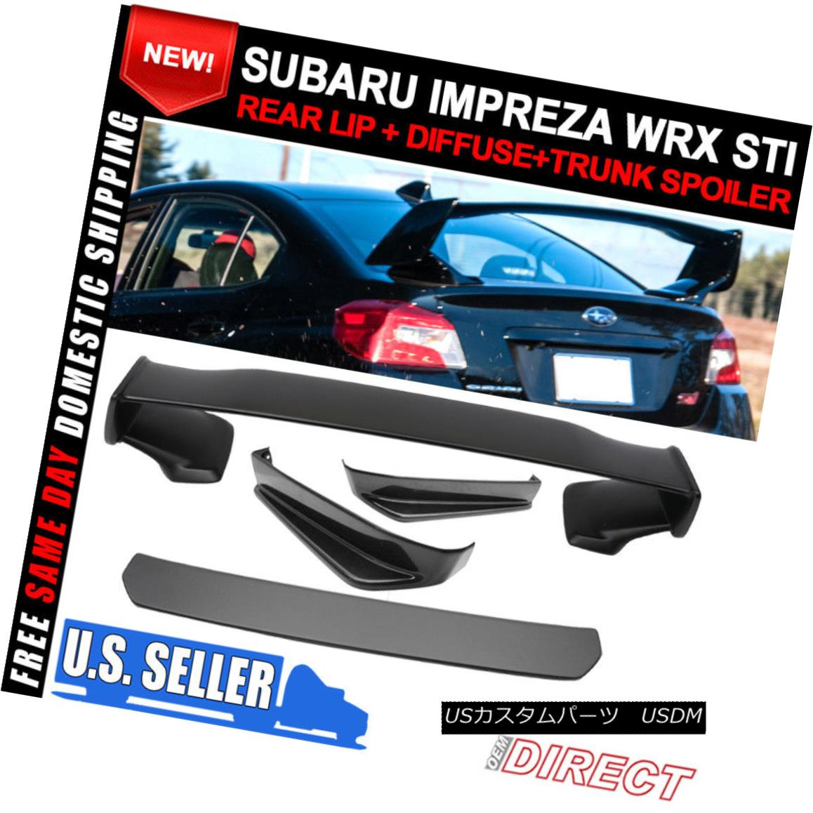 エアロパーツ Fits 15-18 Subaru WRX STI V Limited Rear Lip 2Pc+Diffuser+Spoiler ABS フィット15-18 Subaru WRX STI Vリヤリップ2Pc +ディフューザ+ ABS