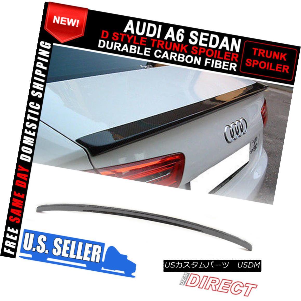 エアロパーツ 12-14 Audi A6 Sedan C7 D Style Carbon Fiber CF Trunk Spoiler 12-14アウディA6セダンC7 DスタイルカーボンファイバーCFトランク・スポイラー