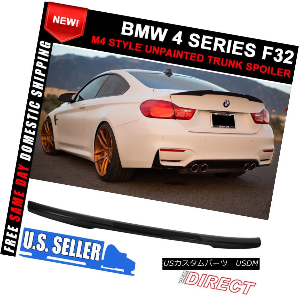 エアロパーツ 14-17 BMW 4 Series F32 M4 Style Unpainted Rear Trunk Spoiler Wing - ABS 14-17 BMW 4シリーズF32 M4スタイル未塗装リアタンクスポイラーウィング - ABS