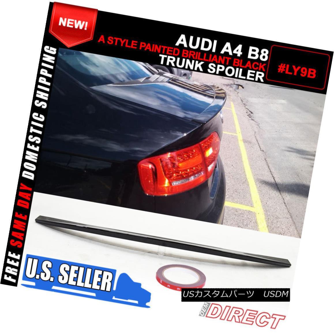 エアロパーツ Fit For 09-12 Audi A4 B8 A Style RS Style Painted #Ly9B ABS Trunk Spoiler アウディA4 B8スタイルのRSスタイル塗装済み#Ly9B ABSトランクスポイラー