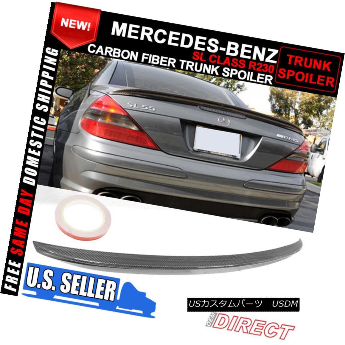 エアロパーツ 03-11 Mercedes Benz SL Class R230 AMG Style Rear Trunk Spoiler Carbon Fiber 03-11メルセデスベンツSLクラスR230 AMGスタイルリアトランクスポイラーカーボンファイバー