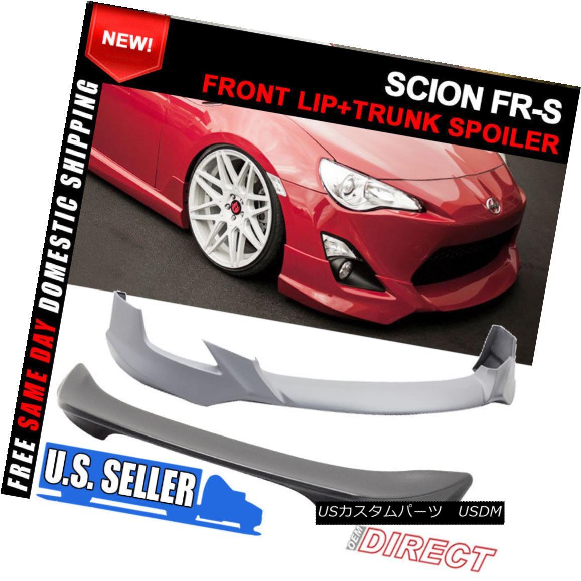 エアロパーツ For 13-16 Scion FRS GT86 5 Design Front Bumper Lip + Tr Style Trunk Spoiler ABS 13-16シオンFRS GT86 5デザインフロントバンパーリップ+ TrスタイルトランクスポイラーABS