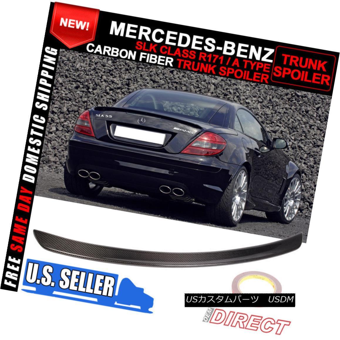 エアロパーツ Fit 05-10 Benz SLK-Class R171 A Type Rear Boot Trunk Spoiler Wing Carbon Fiber フィット05-10ベンツSLKクラスR171 A型リアブーツトランクスポイラーウィングカーボンファイバー