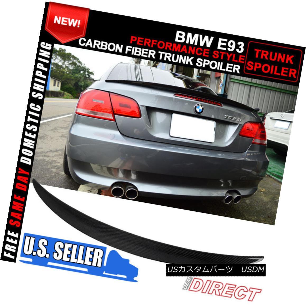 エアロパーツ 07-13 BMW E93 3 Series 2Dr 2Door CF Carbon Fiber Performance Trunk Spoiler 07-13 BMW E93 3シリーズ2Dr 2Door CFカーボンファイバートランク・スポイラー