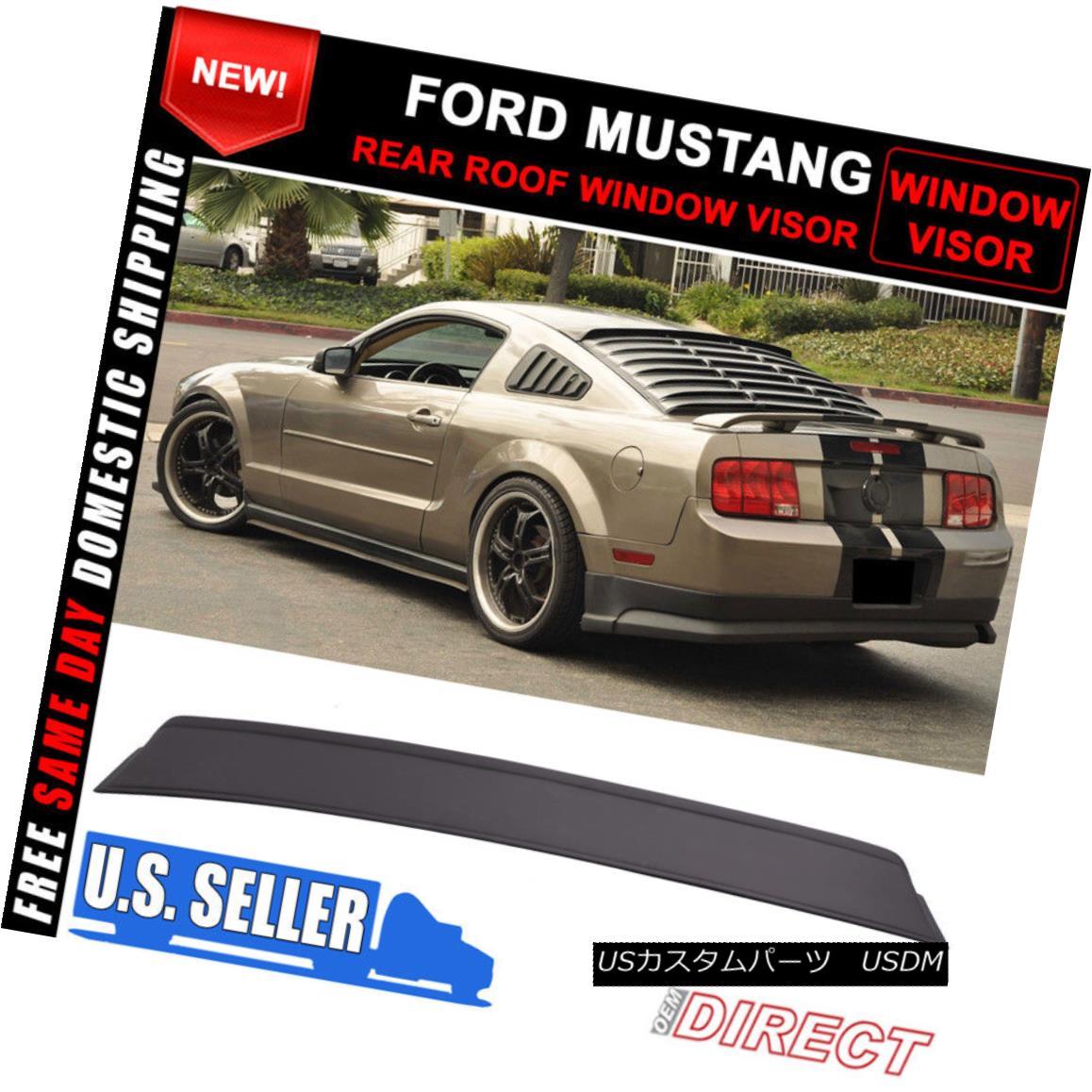 エアロパーツ Fit 05-14 Ford Mustang Rear Roof Window Visor Sun Rain Guards Vent Black フィート05-14フォードマスタングリアルーフウィンドウバイザーサンレインガードベントブラック