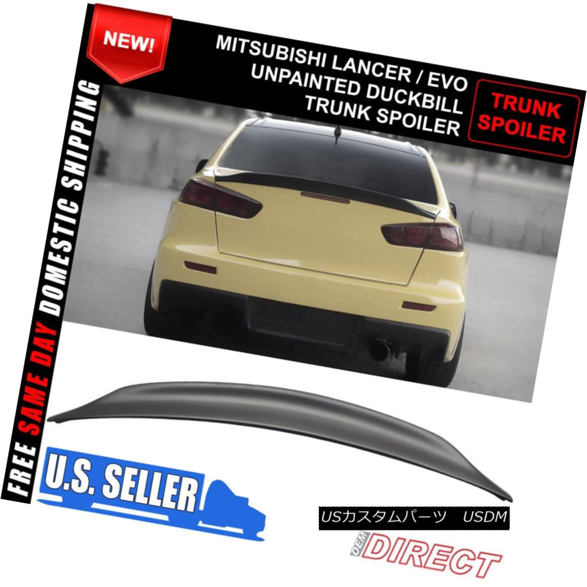エアロパーツ 08-17 Mitsubishi Lancer EVO X 10 MR GSR JDM Duckbill RS ABS Rear Trunk Spoiler 08-17三菱ランサーEVO X 10 MR GSR JDMダックビルRS ABSリアトランク・スポイラー