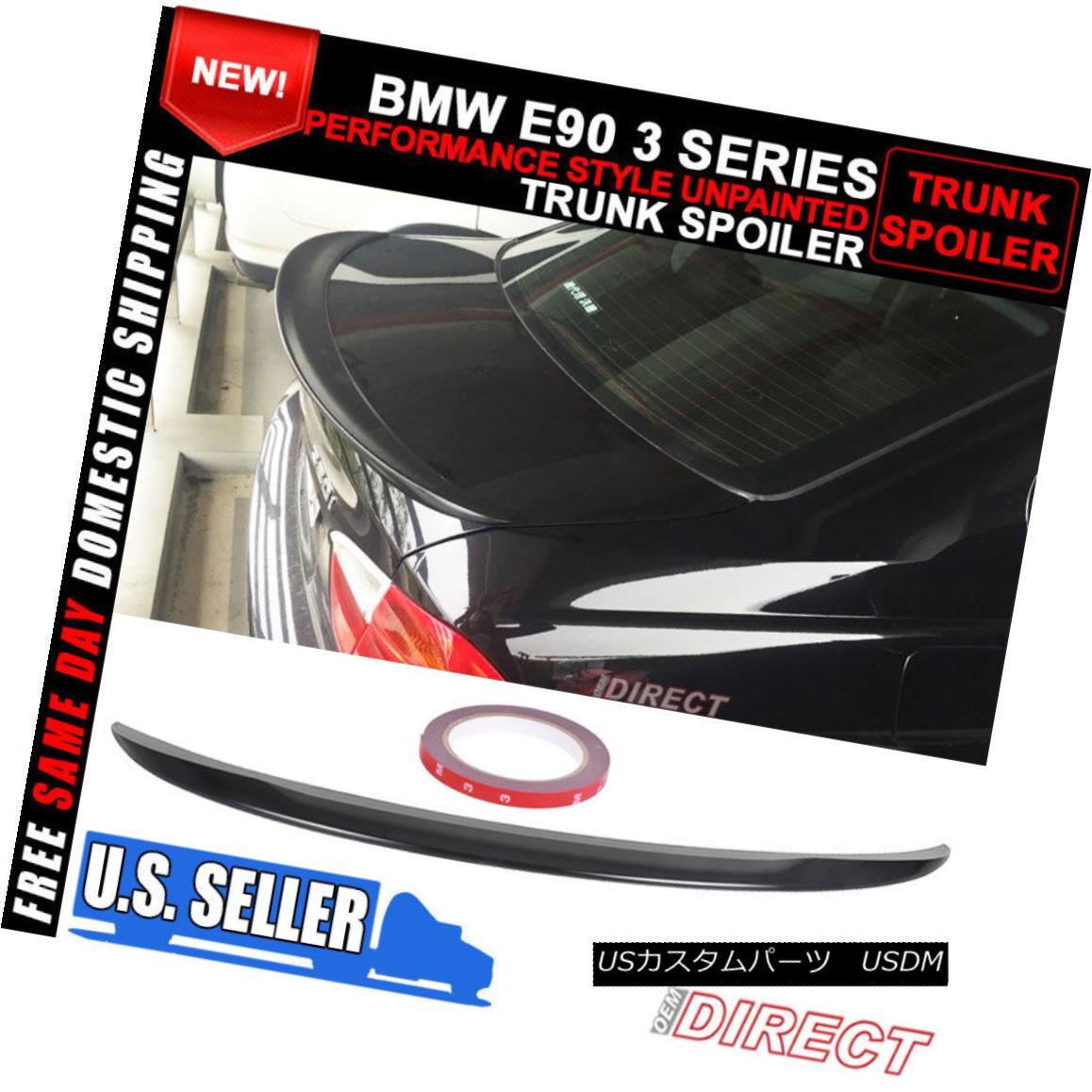 エアロパーツ 06-11 BMW 3 Series E90 Performance Style Unpainted Black ABS Trunk Spoiler 06-11 BMW 3シリーズE90パフォーマンススタイル無塗装ブラックABSトランク・スポイラー