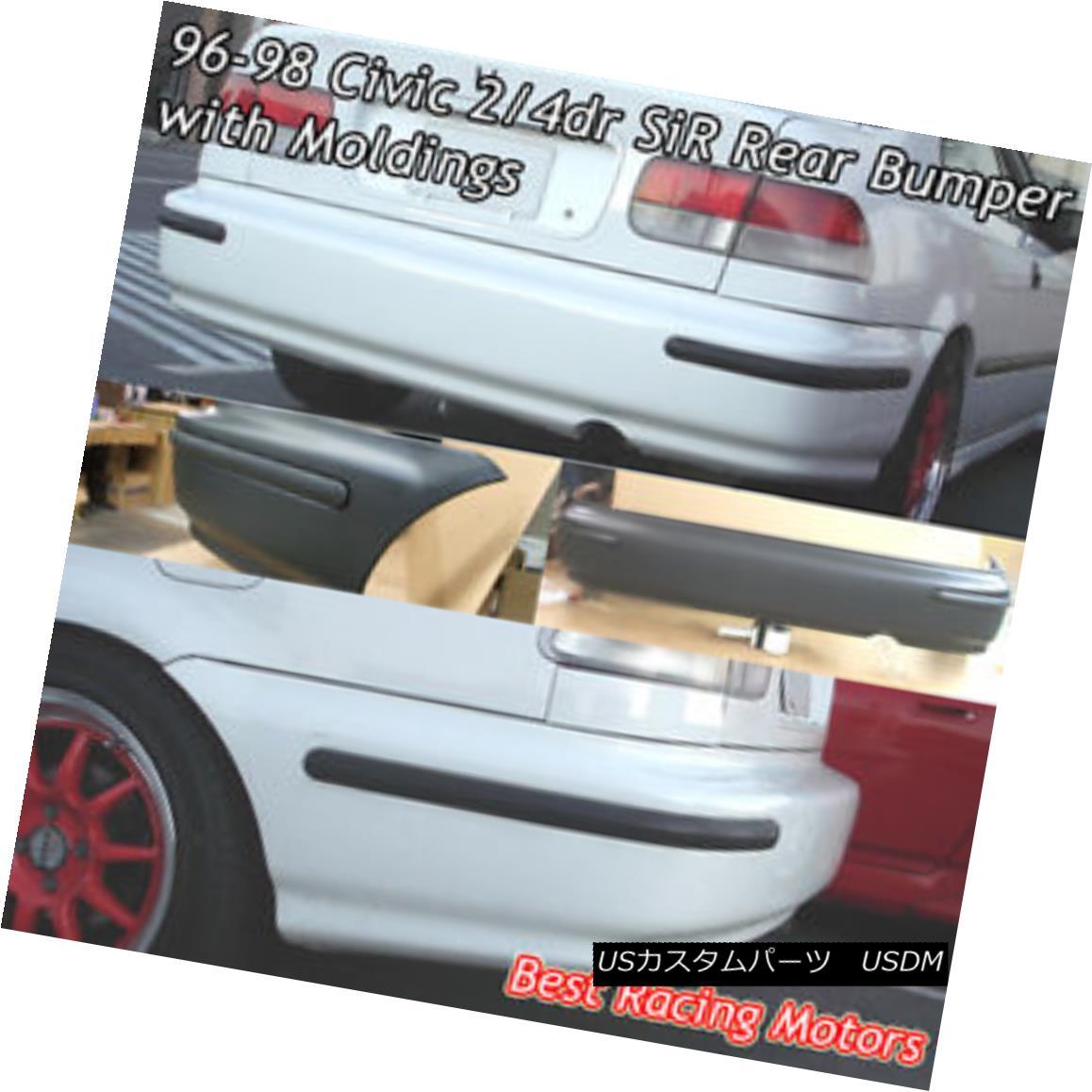エアロパーツ SIR Style Rear Bumper Cover + JDM Molding Fits 96-98 Honda Civic 2/4dr SIRスタイルリアバンパーカバー+ JDMモールディング96-98 Honda Civic 2 / 4dr