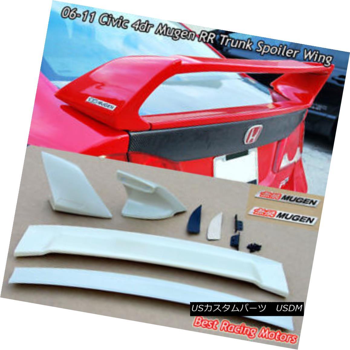 エアロパーツ Mu-gen RR Style Trunk Spoiler Wing (ABS) + Emblem Fit 06-11 Honda Civic 4dr Mu-gen RRスタイルトランクスポイラーウィング(ABS)+エンブレムフィット06-11 Honda Civic 4dr