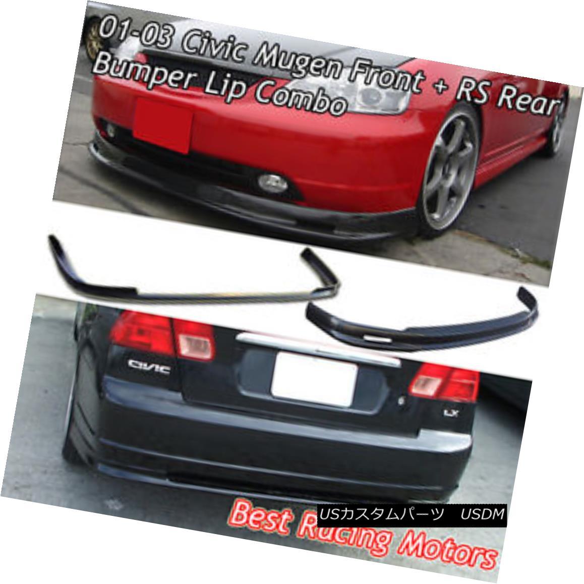 エアロパーツ Mu-gen Style Front (PU) + RS Style Rear Bumper Lip (PP) Fit 01-03 Civic 4dr ムーゲンスタイルフロント(PU)+ RSスタイルリアバンパーリップ(PP)フィット01-03シビック4dr