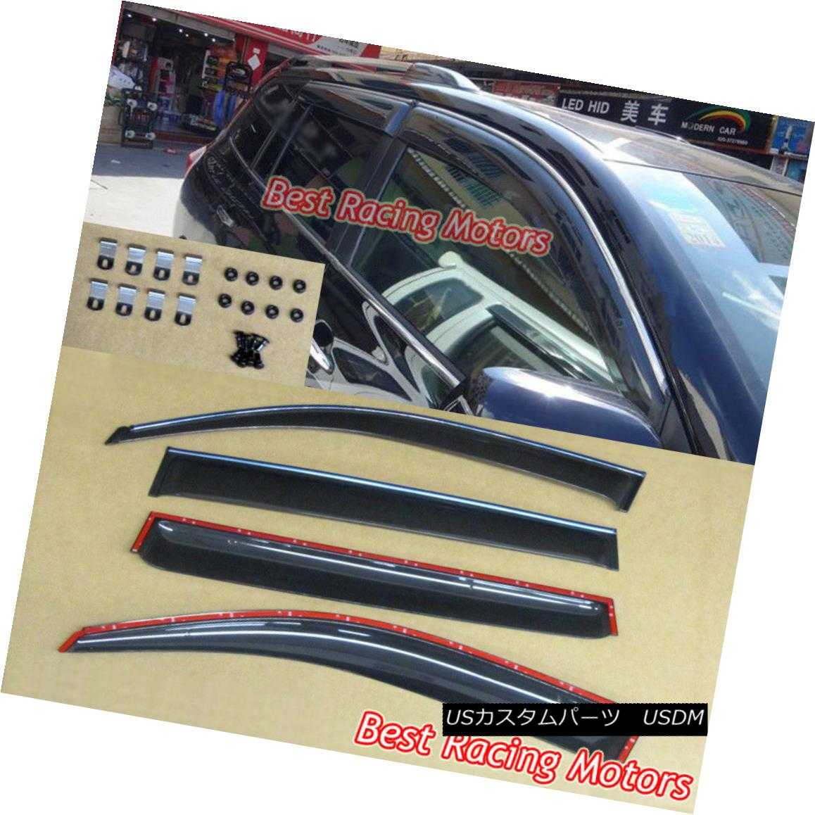 エアロパーツ JDM Style Side Window Visors + Chrome Molding Trims Fits 08-13 Toyota Highlander JDMスタイルのサイドウィンドウバイザー+クロームモールディングトリムフィット08-13トヨタハイランダー