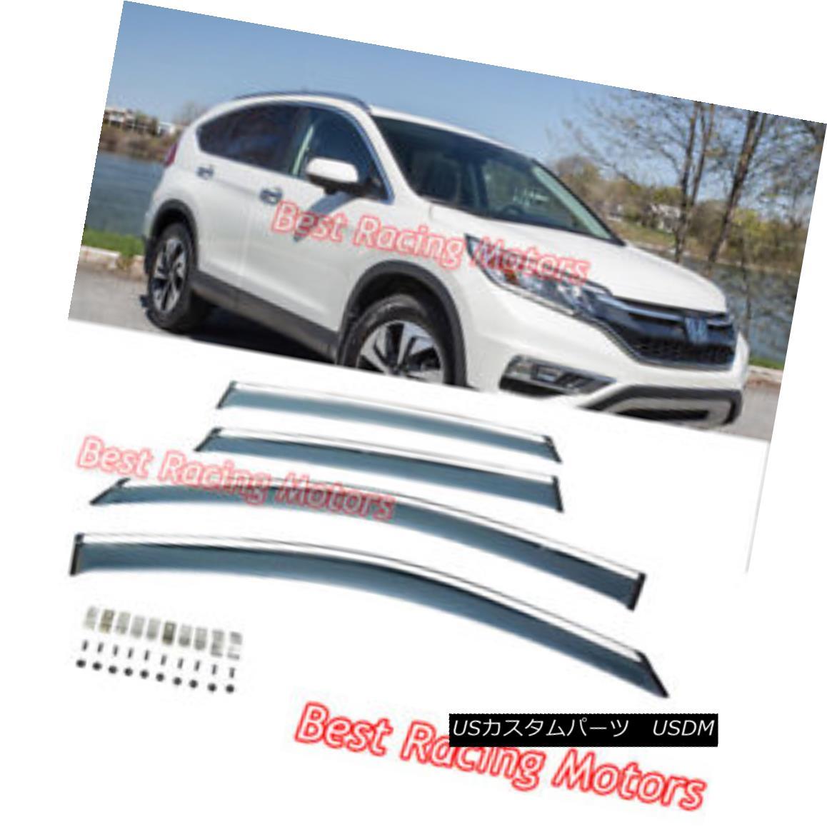 エアロパーツ JDM Style Side Window Visors + Chrome Molding Trims + Clips Fit 12-16 Honda CR-V JDMスタイルのサイドウィンドウバイザー+クロームモールディングトリム+クリップ12-16 Honda CR-Vに適合