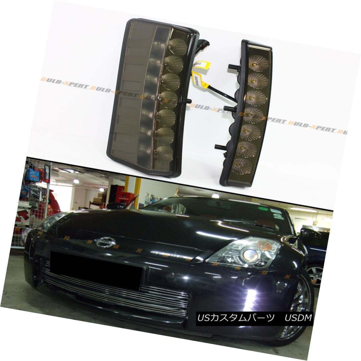 エアロパーツ DIRECT FIT 03-05 NISSAN 350Z BUMPER REFLECTOR SMOKE 7 LED DAY TIME RUNNING LIGHT ダイレクトフィット03-05日産350Zバンパーリフレクターソーキング7 LED DAY TIME RUNNING LIGHT
