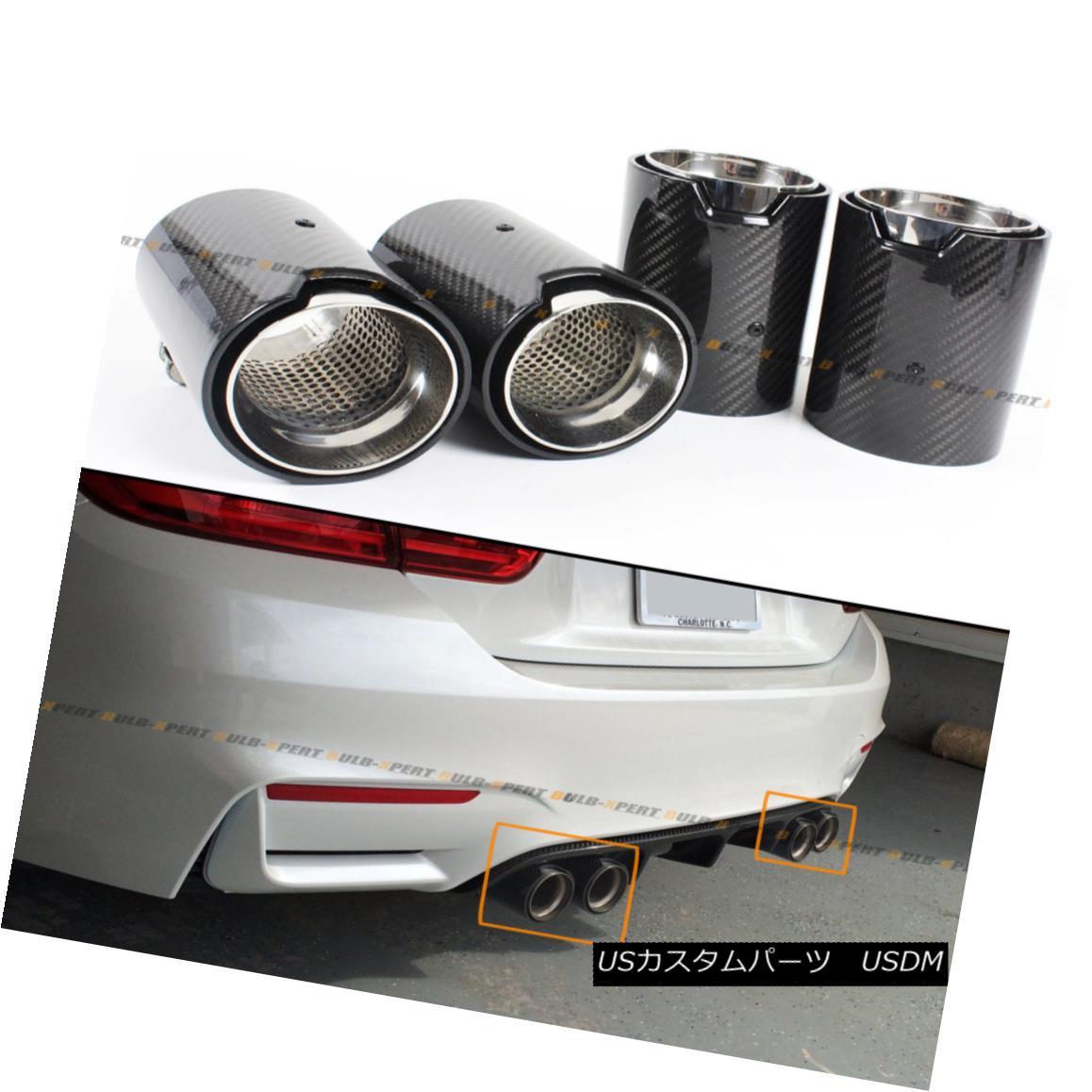 エアロパーツ FOR 2015-2018 BMW F80 M3 F82 M4 CARBON FIBER STAINLESS EXHAUST TIP FINISHERS X 4 2015-2018 BMW F80 M3 F82 M4カーボンファイバーステンレススチールチップフィニッシャーX 4