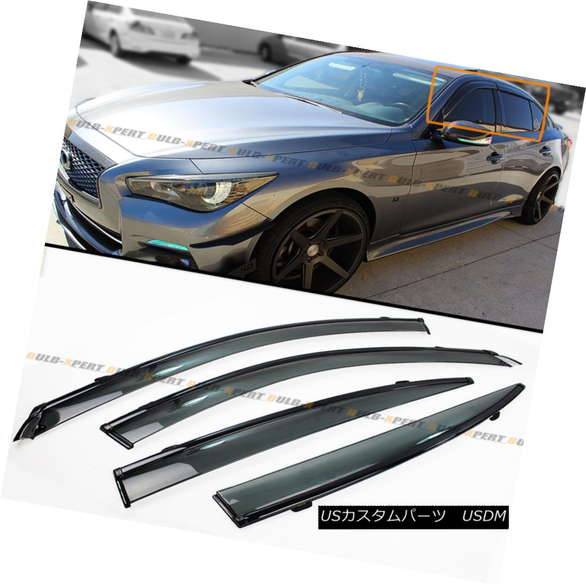 エアロパーツ FOR 2014-2018 INFINITI Q50 S VIP CLIP-ON SMOKE TINTED WINDOW VISOR W/ BLACK TRIM 2014年?2018年INFINITI Q50 S VIPクリップオンソーキーティント付きウィンドウビューアW / BLACK TRIM