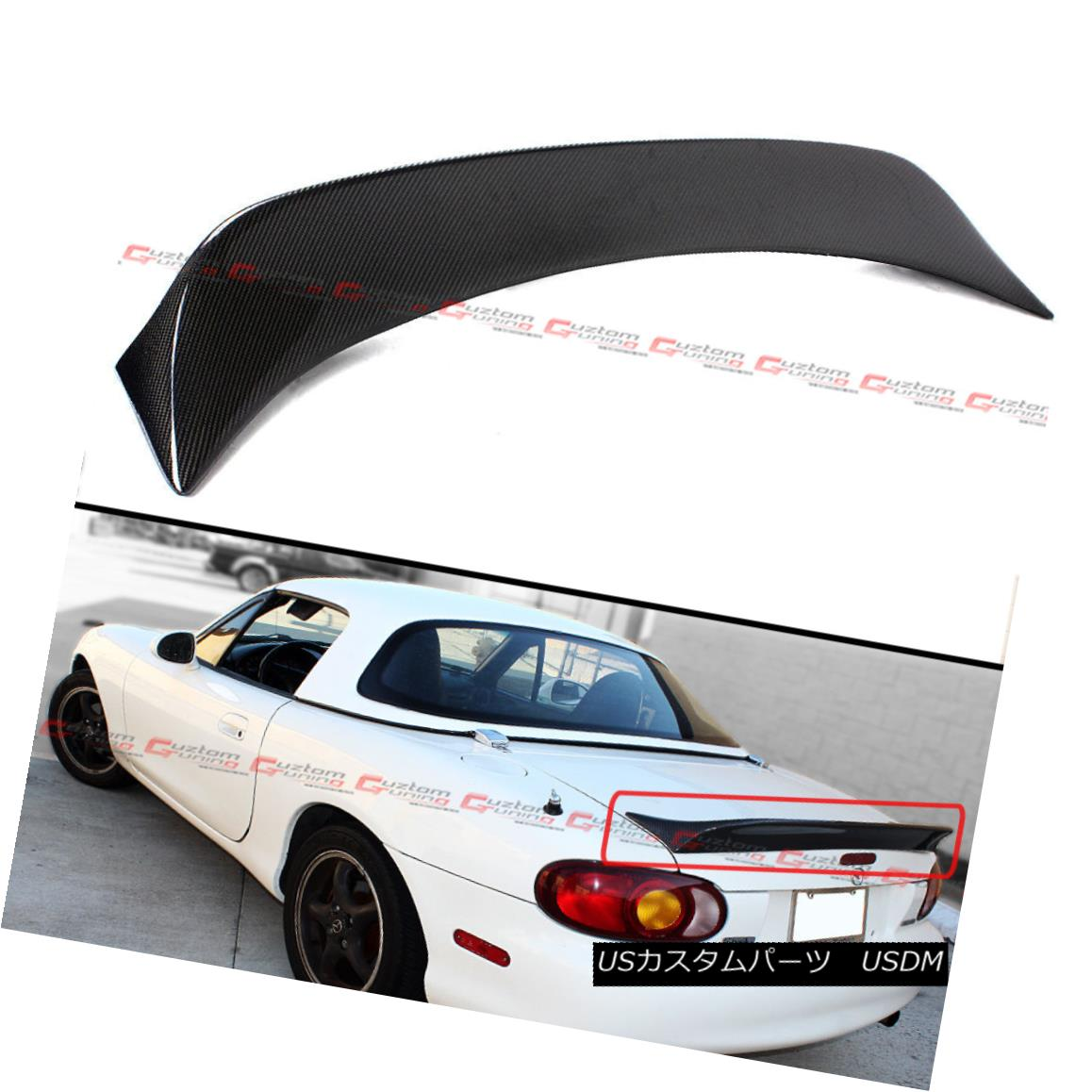 エアロパーツ For 99-05 Mazda Miata NB 2nd Gen JDM Carbon Fiber High Kick Trunk Spoiler Wing 99-05のためにマツダMiata NB第2世代JDM炭素繊維ハイキックトランクスポイラーウィング