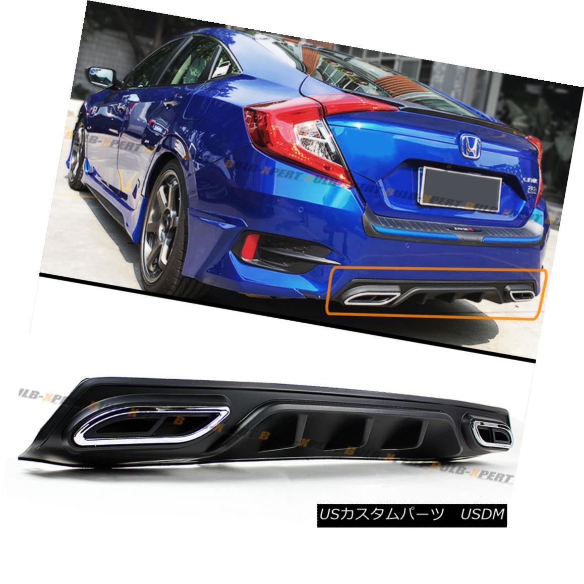 For 2016-18 10th Honda Civic Sedan Rear Bumper Diffuser Fake Exhaust Outlet Tip