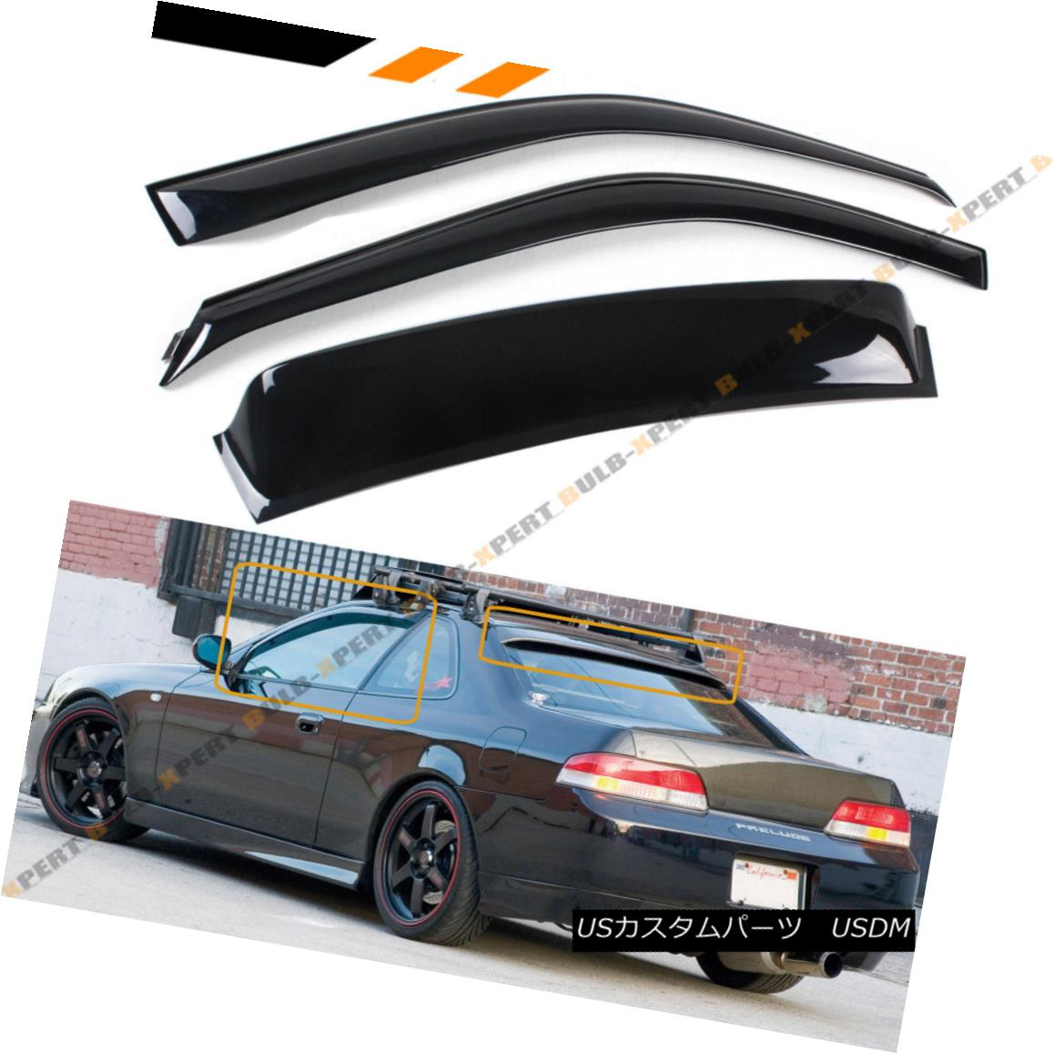 エアロパーツ For 1997-01 5th Gen Honda Prelude Rear Window Roof Visor + Rain Guard Door Visor 1997-01第5世代ホンダプレリュードリアウィンドウルーフバイザー+レインガードドアバイザー