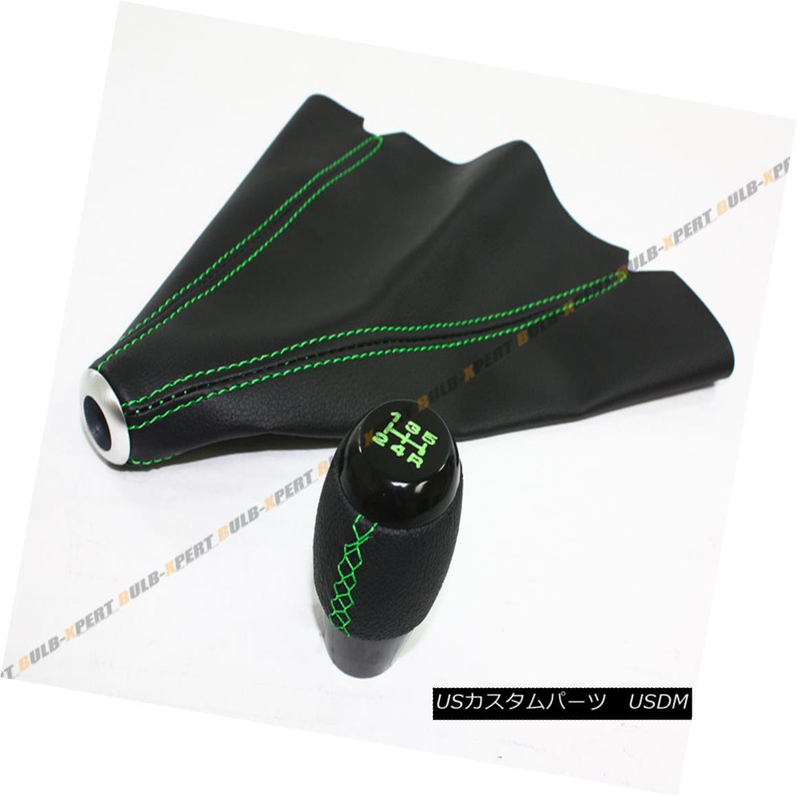 エアロパーツ 5 SPEED LEATHER MANUAL SHIFTER KNOB + SHIFT BOOT W/ GREEN STITCH FOR KIA MODEL 5スピード・レザー・マニュアル・シフター・ノブ+シフト・ブーツ/グリーン・ステッチ・キア・モデル