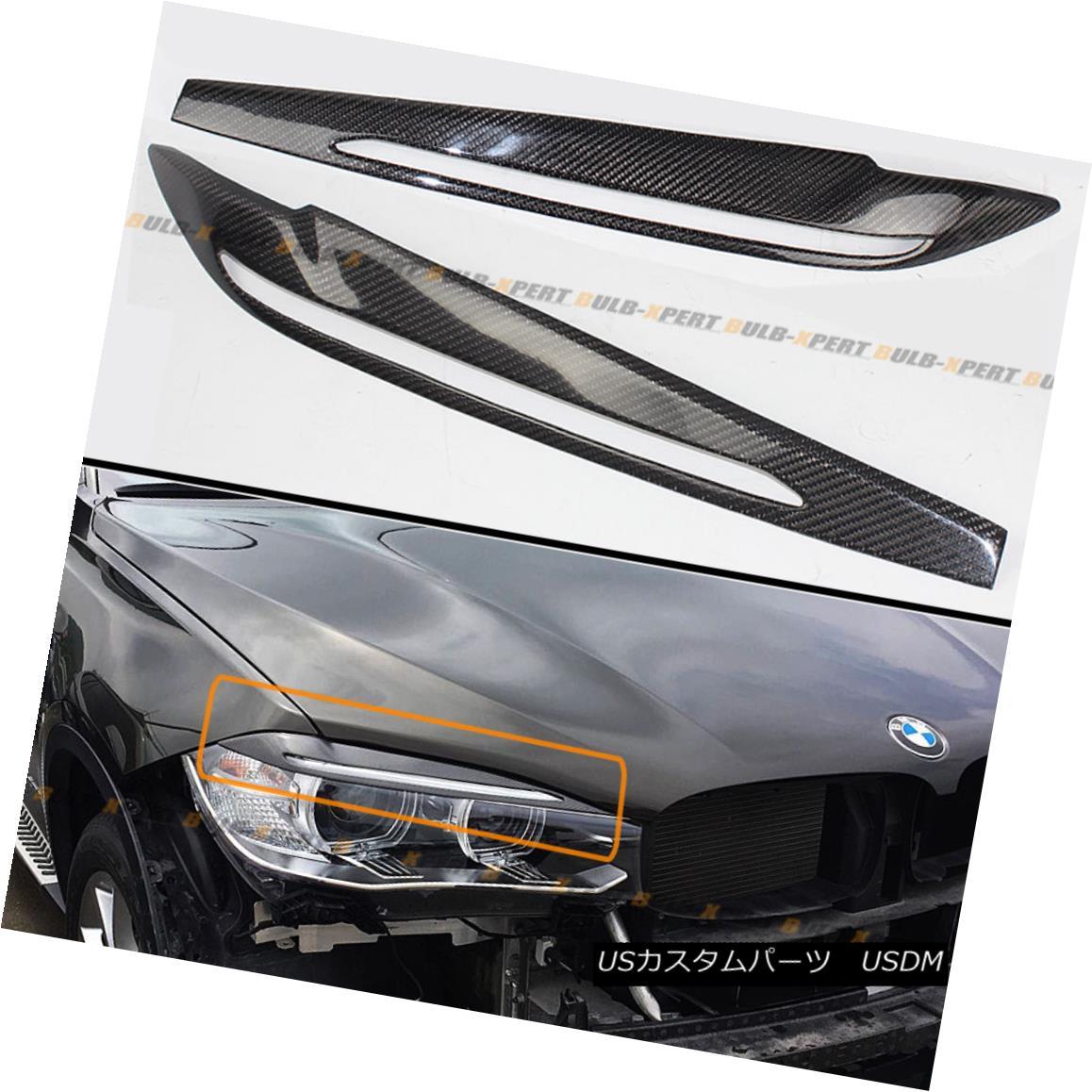 エアロパーツ FOR 2015-17 BMW F16 X6 F86 X6M CARBON FIBER HEADLIGHT EYE LID COVER EYEBROW PAIR 2015-17 BMW F16 X6 F86 X6Mカーボンファイバーヘッドライトアイリッドカバーアイブロウペア
