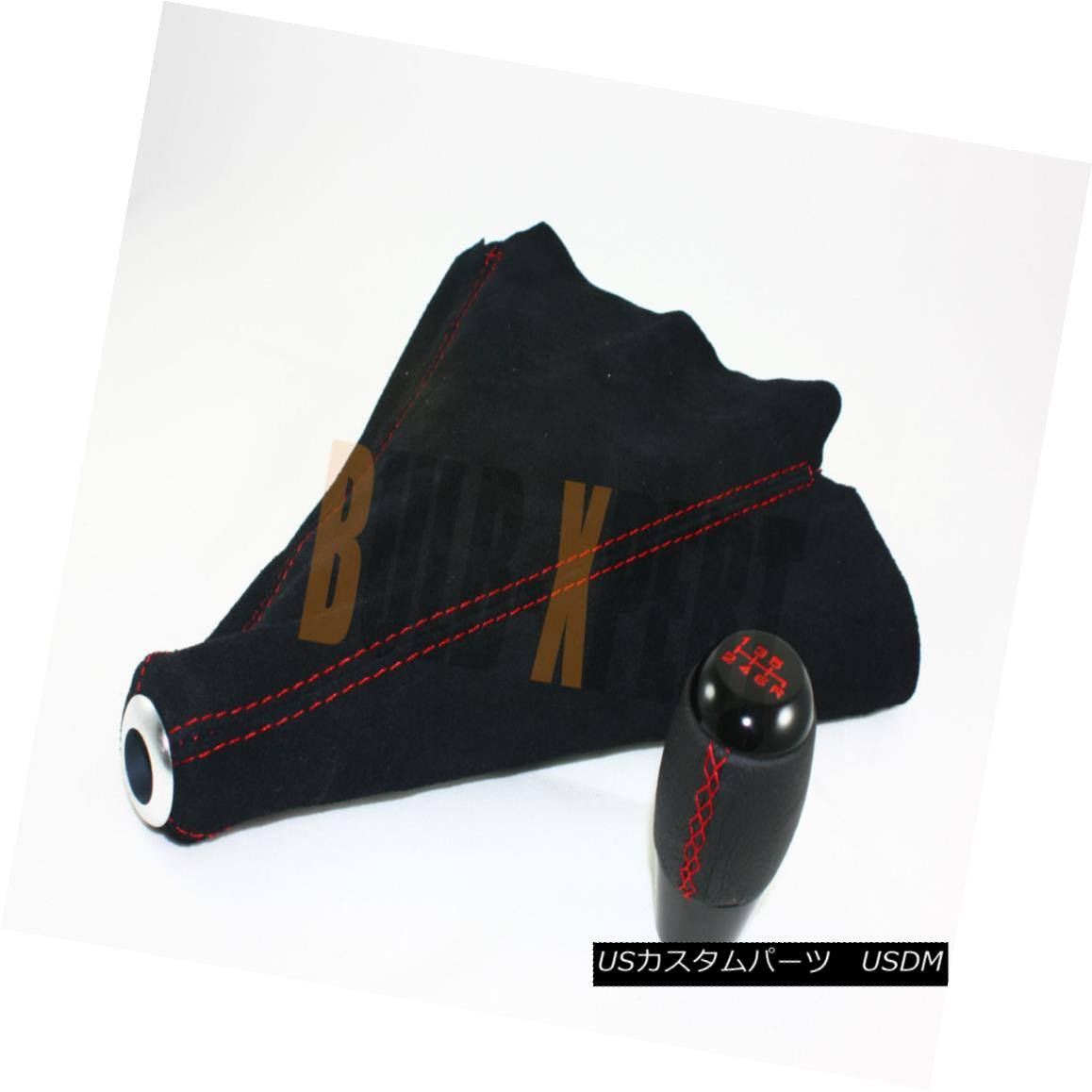 エアロパーツ FIT FOR 350Z 370Z BLK 6 SPEED SHIFTER KNOB + SUEDE SHIFT BOOT W/ RED STITCHING 350Z 370Z BLK 6スピード・シフターノブ+スエード・シフト・ブーツW / RED STITCHING