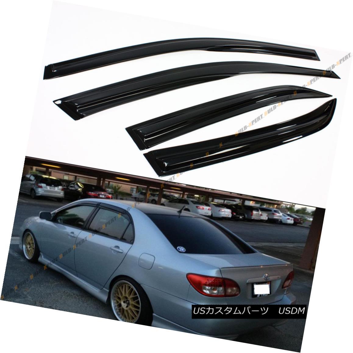 エアロパーツ JDM WAVY 3D STYLE SMOKED WINDOW VISOR VENT SHADE FOR 2003-2008 TOYOTA COROLLA 2003?2008年トヨタコーラのJDM WAVY 3D STYLE SMOOKED WINDOW VISOR VENT SHADE