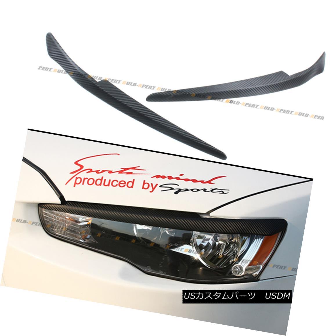 エアロパーツ FOR 08-16 MITSUBISHI LANCER GTS EVO X ABS CARBON TEXTURE HEADLIGHT EYE LID COVER 08-16三菱ランサーGTS EVO X ABSカーボンチューブヘッドライトアイカバーカバー
