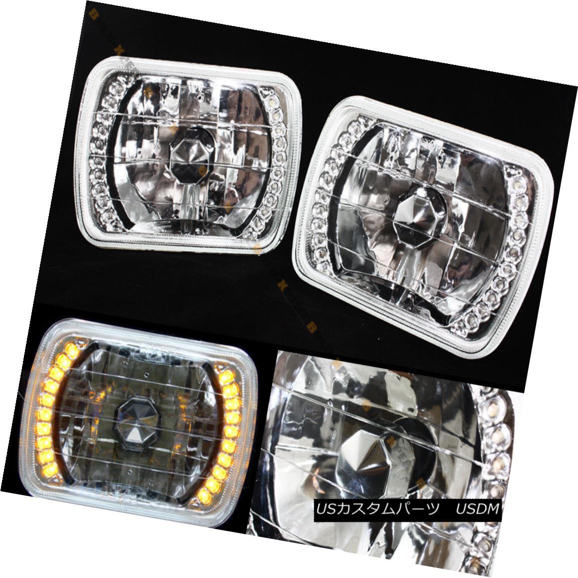 エアロパーツ PAIR 7 X 6 GLASS LENS CHROME DIAMOND SEALED BEAM H6052/6054 AMBER LED HEADLIGHT ペア7 X 6グラスレンズ・クローム・ダイヤモンド・シール・ビームH6052 / 6054アンバーLEDヘッドライト