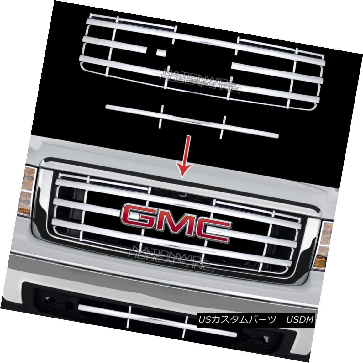 グリル New 07-13 GMC Sierra 1500 CHROME Snap On Grille Overlay Front Grill Cover Insert 新07-13 GMC Sierra 1500 CHROMEスナップオングリルオーバーレイフロントグリルカバーインサート