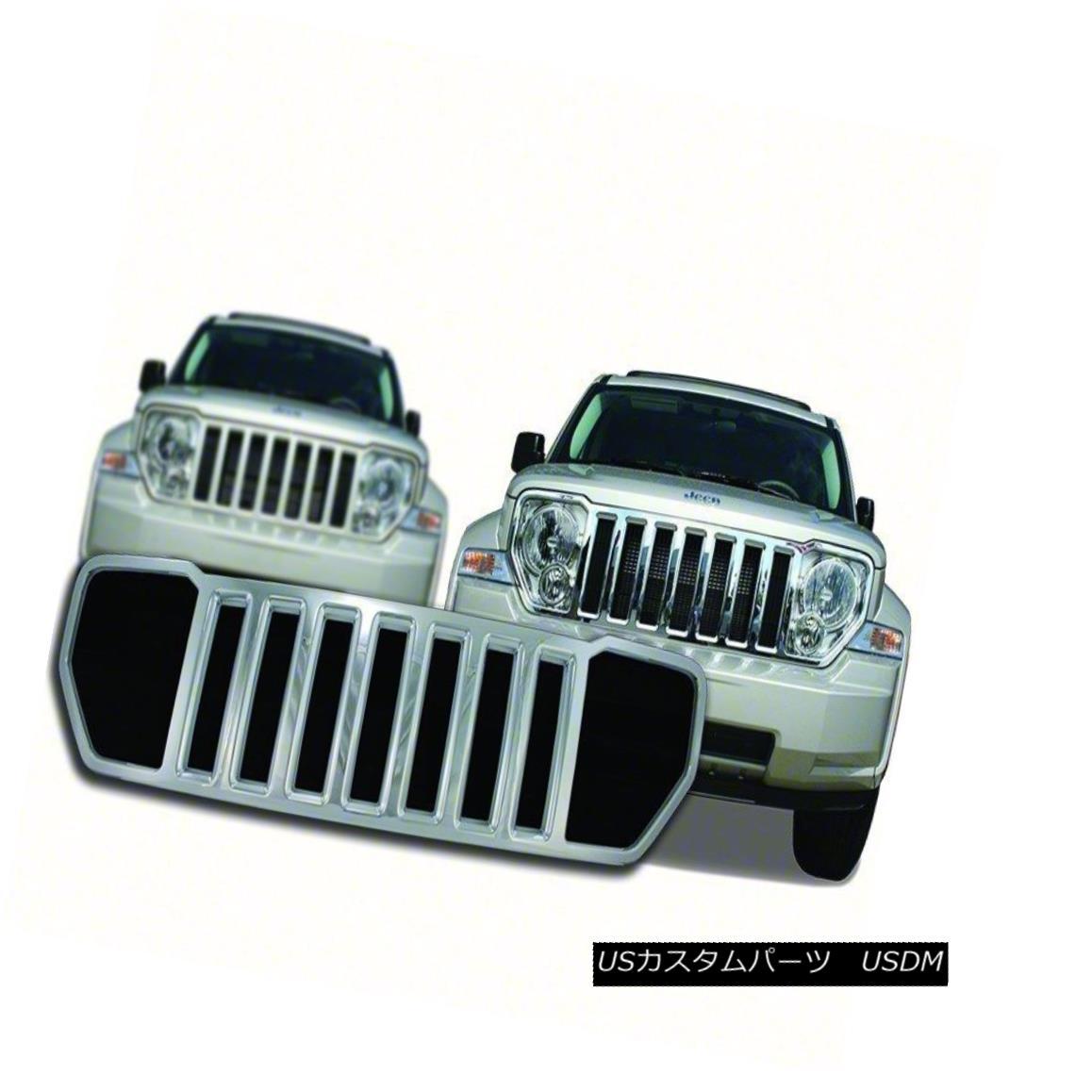 グリル Fits 08-13 Jeep Liberty Chrome Grille Overlay IWCGI55 フィット08-13ジープリバティークロームグリルオーバーレイIWCGI55