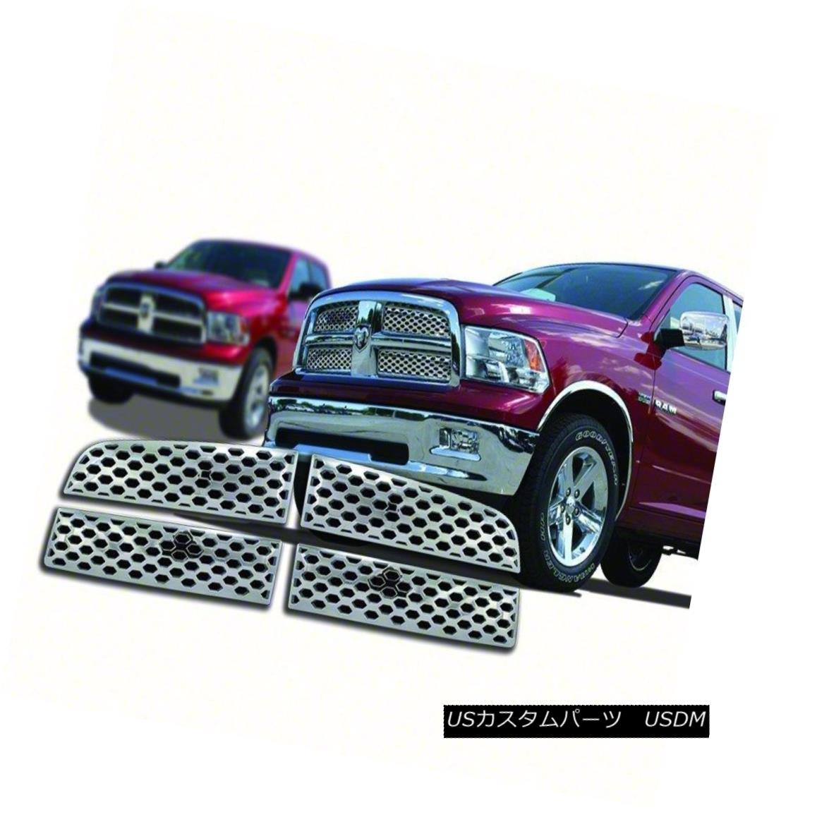 グリル Fits 2009-12 Dodge Ram 1500-4pc Chrome Grille Overlay-IWCGI74 フィット2009-12ダッジラム1500-4pcクロームグリルオーバーレイ-IWCGI7 4