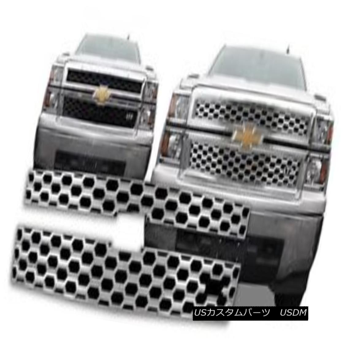 グリル Fits 14-15 Chevy Silverado 1500 LTZ ONLY-Chrome Grille Overlay GI124L 14-15インチChevy Silverado 1500 LTZ ONLY-ChromeグリルオーバーレイGI124Lに適合