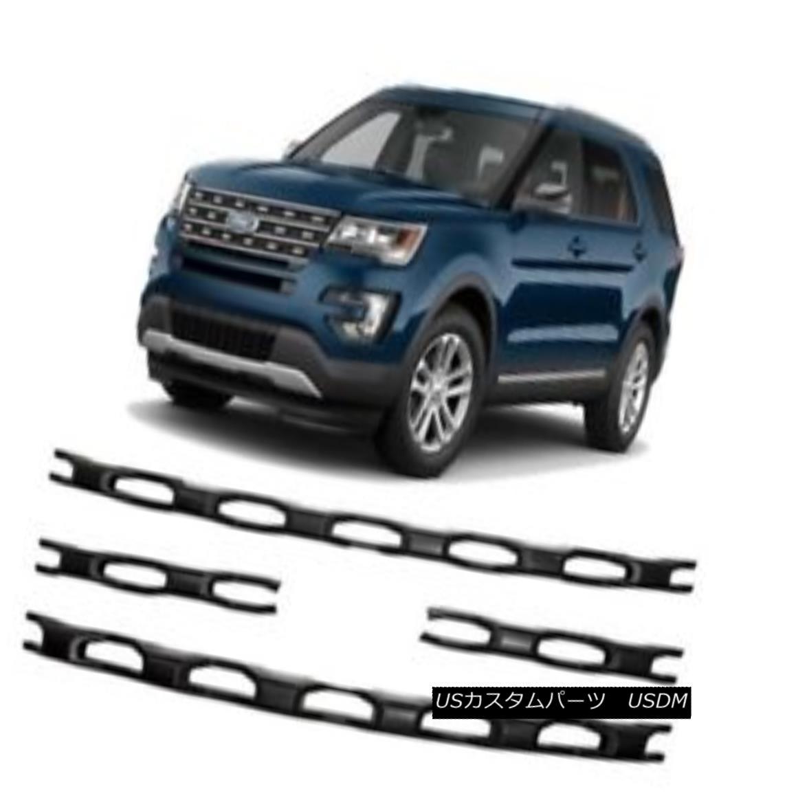 グリル Fits 2016-17 Ford Explorer - 4pc Black Grille Insert - IWCGI139BLK フィット2016-17フォードエクスプローラー - 4pcブラックグリルインサート - IWCGI139BLK