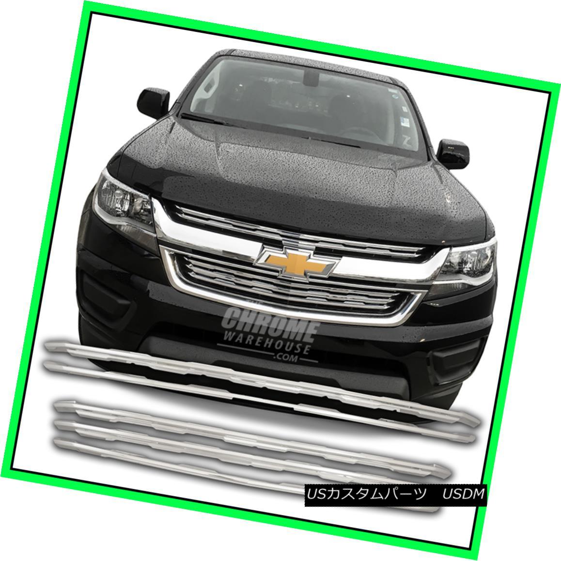 グリル Fits 15-16 Chevy Colorado LT, WT - Chrome Grille Overlay 15-16 Chevy Colorado LT、WT - Chrome Grille Overlayに適合